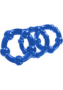 Stay Hard Beaded Cock Rings (3 Sizes) - Blue